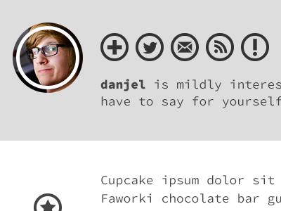 Mildly Interested profile social network network twitter follow iconmonstr cupcake ipsum