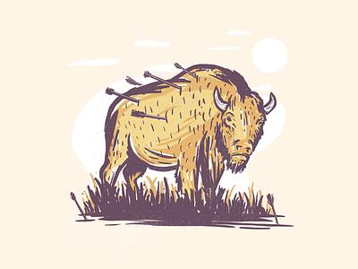 Injured wildlife fresco vector injured bison inktober