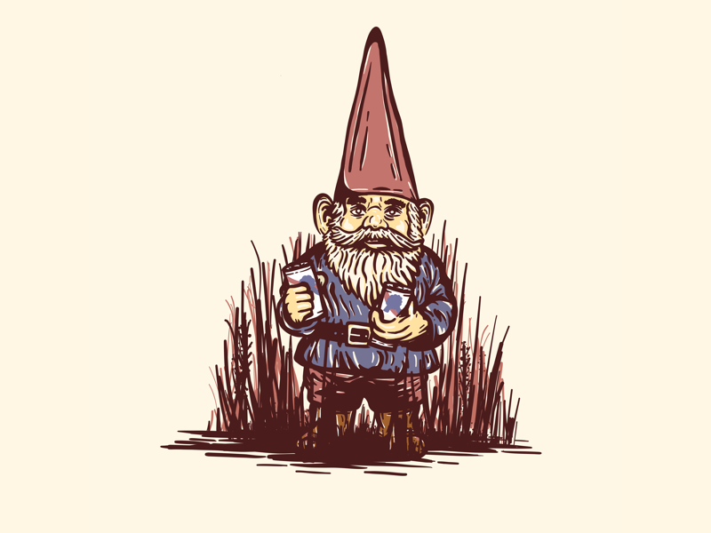 Ornament fresco illustration inktober ornament pabst beer pbr gnome