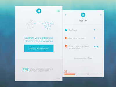 Content Optimizer progress bar desktop tool mobile checklist user experience ux icons flat ui analytics