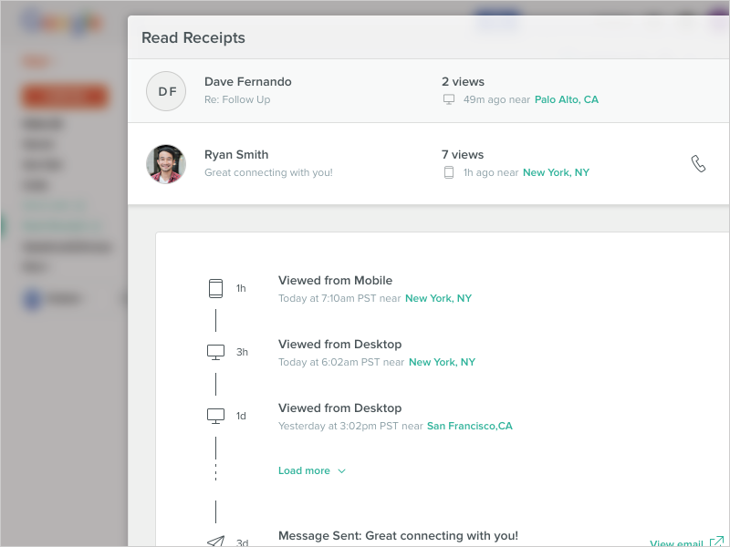 Read Receipts For Chrome user experience outlook gmail activity timeline list product design email timeline