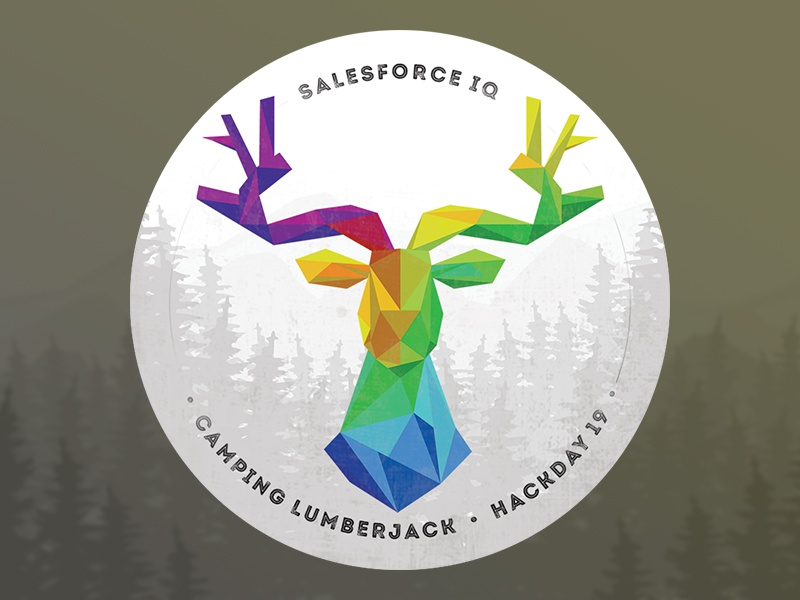 SalesforceIQ Hackday19 Sticker texture badge lumberjack camping illustration sticker trophy color deer triangles