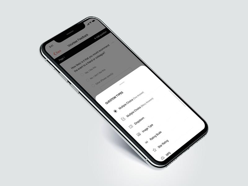 Create Multiple types question design typography flat ux app ui minimal