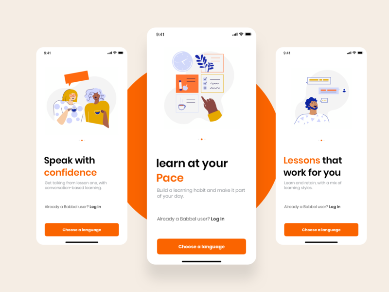 Babble Redesign on-boarding learning traveller typography illustrations onboarding illustration redesign onboarding illustration minimal