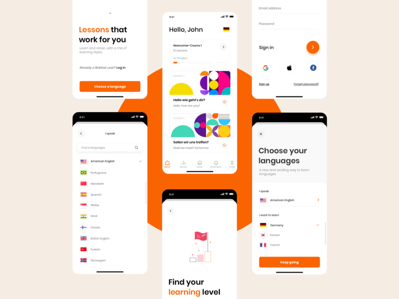 Babble Redesign Concept challenge concept redesign ux ui minimal ios travel language learning app