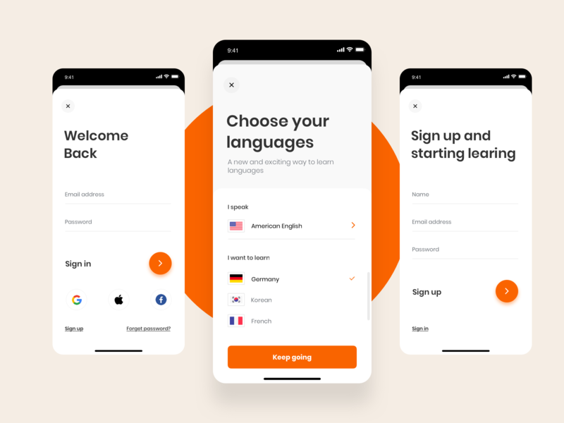 Babble Sign in / Sign up UI travel language sign up sign in register page login page app account