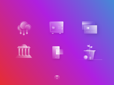 Alpha Icons set - Exploration finance banking icons pack minimal vector illustrations iconset abstract concept gradient sketch minimalist