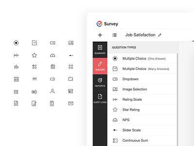 Survey question creation - Builder Icons set minimal clean lineicons iconset creation builder question survey
