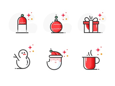 Icons Set year package new stroke icons flat merry illustration icon gift christmas