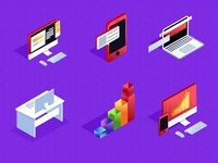 Sketch Isometric Icons Set for Office Stuff