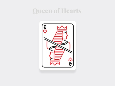Queen of Hearts - Weekly Warm-up Serious pixel stroke minimal designs illustration art dailyui illustration challenge queen of hearts queen playingcards cards