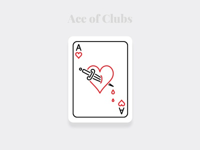 Ace of Clubs - Weekly Warm-up Serious dribbble minimal art weekly warm-up challenge design cards playingcards illustration