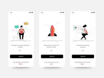 Onboarding Survey App typography flat survey character vector app illustration