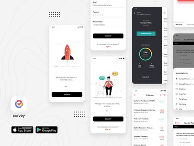 Survey Mobile Application Design form survey charts reports analytics typography clean ui flat ux ui design minimal android ios