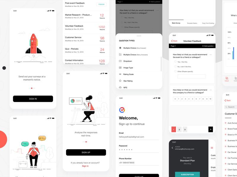 Survey Application product concept ux vector minimalistic onboarding survey ios mobile app design