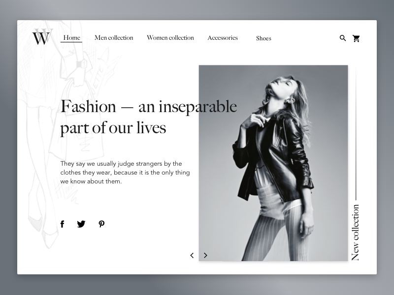 Fashion Website fancy clothes fashion main page homepage website web white black bnw