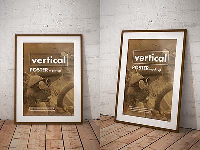 Free vintage poster mockups frame download psd photoshop freebie free poster mockup