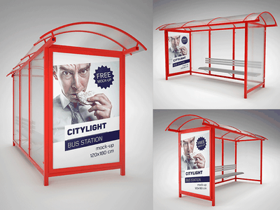 Free Bus Station Mockup bus station mockup baner stand poster dowload psd freebie mockup free
