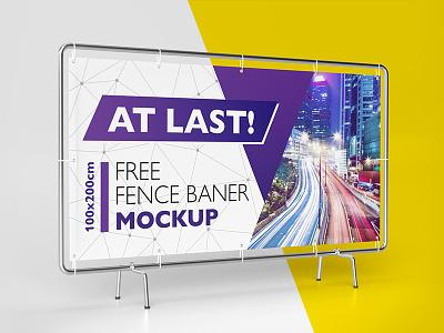 Free Fence Baner Mockup download freebie mockup exhibition stand baner free
