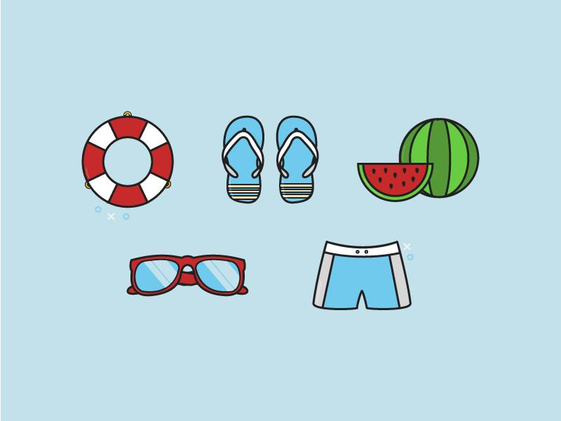 Summertime rescue ring sunglasses beach watermelon flipflop summer
