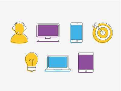 Illustrations for computer sciences illustration computer sciences computer person lightbulb device devices informatics flat icon