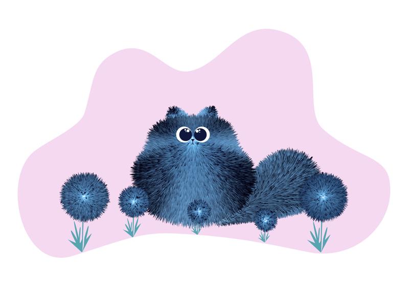Fluffy Cat adobe character cute animal cute fluffy cat illustrator illustration