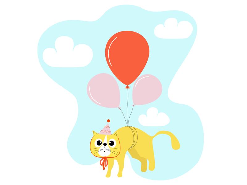 Birthday Cat sky clouds balloons cat illustration cat birthday happy birthday cute animal cute character 2d illustrator illustration