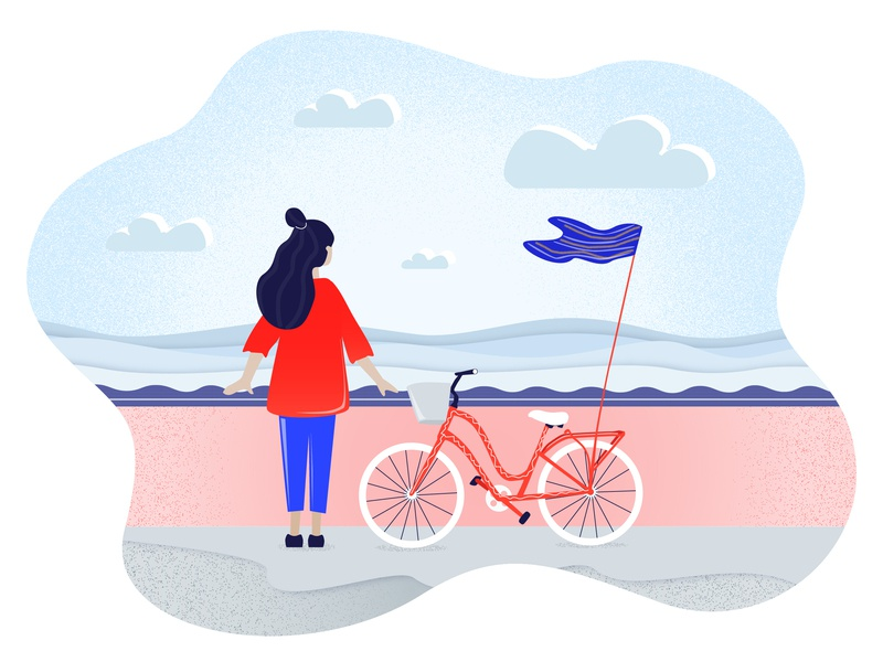 Summer time texture girl clouds sky beach ride bycicle bike design adobe character 2d illustrator illustration