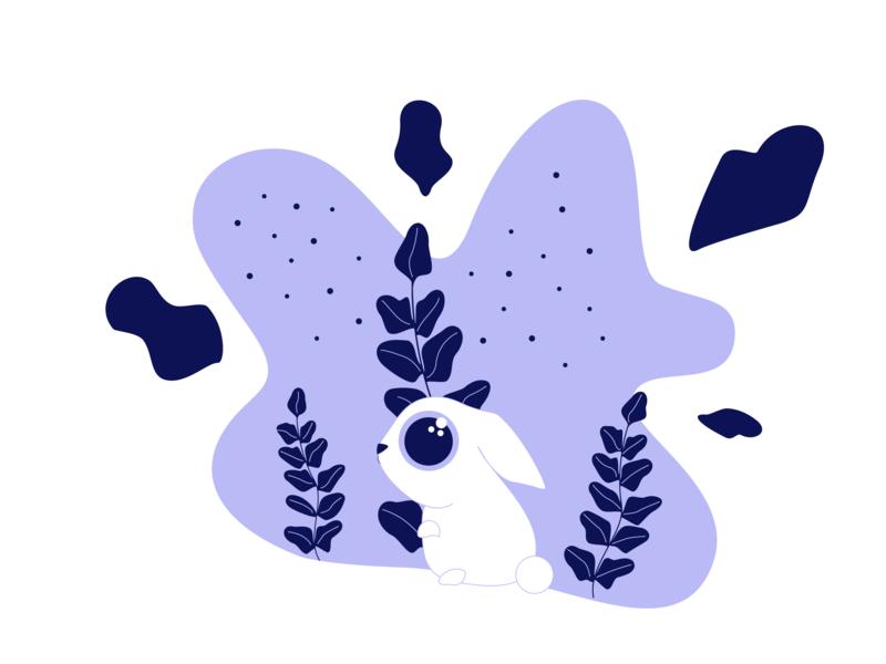 Bunny leafs leaf bunny vector cute animal cute character 2d adobe illustrator illustration