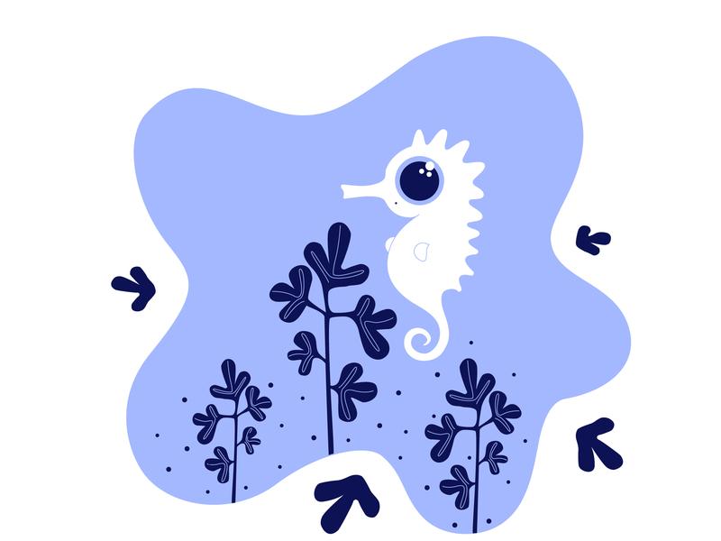 Seahorse leafs plants seahorse vector cute animal cute character 2d adobe illustrator illustration
