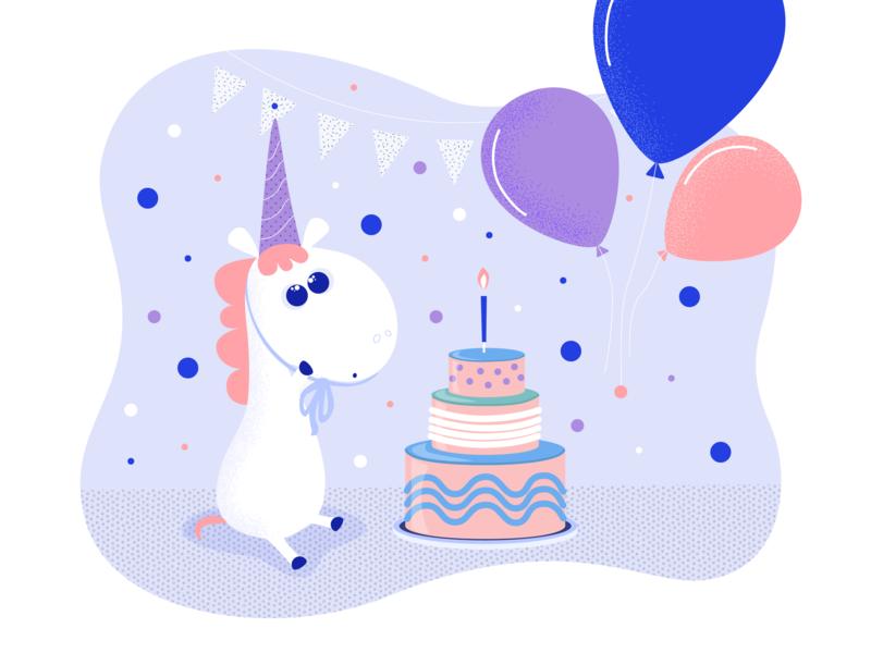 Birthday Unicorn art adobe ilustrator adobe illustration unicorn ui happy birthday birthday design cute animal cute vector character adobe 2d illustrator illustration