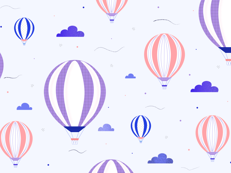 Air Balloon Pattern sky clouds airballoon pattern design pattern art patterns pattern vector digitalart digital illustration adobe illustrator adobe 2d illustrator illustration