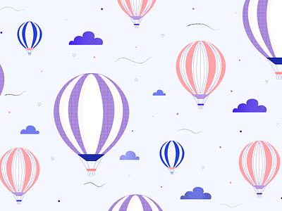 Air Balloon Pattern sky clouds airballoon pattern design pattern art patterns pattern vector digitalart digital illustration adobe illustrator adobe 2d illustrator illustration