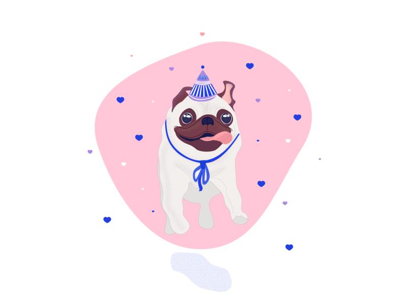 Running pug hearts heart running dog pugs pug doggo doggy dog ui birthday happy birthday design cute animal cute vector character adobe 2d illustrator illustration
