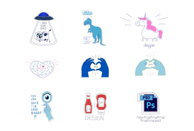 Designer Stickers Set uiuxdesigner logo uiuxdesign uiux ui spaceship space cow unicorn stickers sticker design sticker adobe illustrator design cute vector adobe 2d illustrator illustration