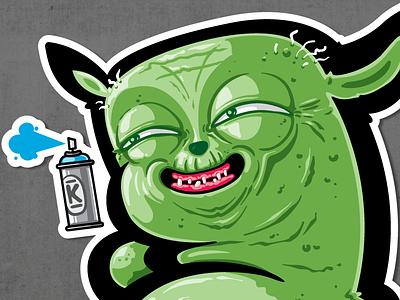 YODA 13 spray paint graffiti kiwie yoda fat monster kiwie wars