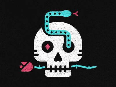 Till death do us part texture icon illustration illo minimal death snake rose skull