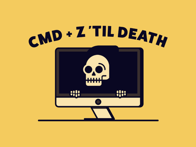 CMD + Z marek mundok skull simplistic simple illustration