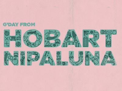 Hobart/nipaluna Typography risograph icon hobart typogaphy illustration