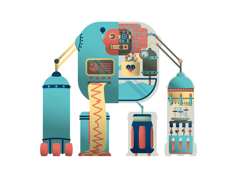 Earthquake Detector Robot grainy character retro illustration