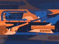 Blog Article Illustration - Designer vs Illustrator complementary colors cowboy illustrator affinitydesigner blog editorial illustration illustration