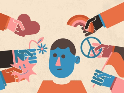 Blog Article Illustration - Brands and Social Responsibility kindness peace character blog illustration editorial illustration