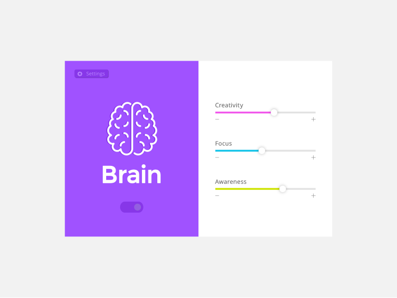DailyUI Challenge #007 - Settings awareness focus creativity pop brain 007 settings ui dailyui