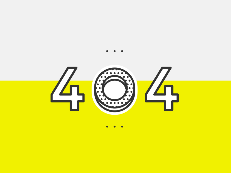 DailyUI Challenge #008 - 404 Page page hint ux ui bagel donut 404 yellow challenge 008
