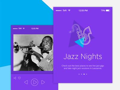 DailyUI Challenge #009 - Music Player nights jazz blue purple playful colorful 009 player music ui dailyui