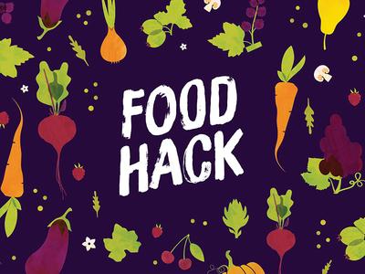 Foodhack 2017 Banner purple food illustration foodhack