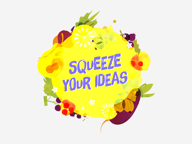 FoodHack Meetup - Squeeze Your Ideas colorful pop healthy veggies fruits yellow lemon squeeze foodhack icon