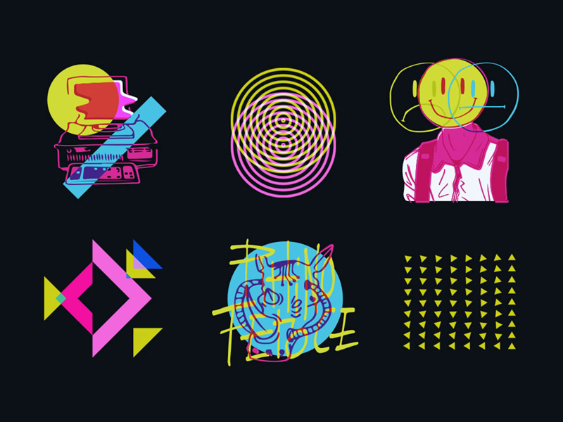 Couleur 3 - Brand Research electric black branding rebrand music geometric shapes playful colorful rhino people icons
