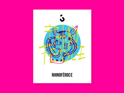 Couleur 3 - Branding Research - Rhinoféroce music icons research pink electric blue rhino illustration rebrand