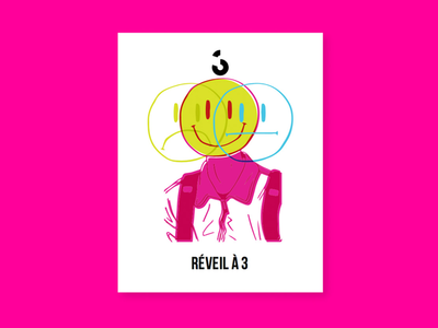 Couleur 3 - Branding Research - Réveil à 3 electric black branding rebrand music geometric shapes playful colorful smiley people icons